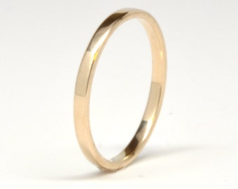 14K Yellow Gold Wedding Band or Wedding Ring, 2mm, High Polish Finish, Eco Friendly, Sea Babe Jewelry
