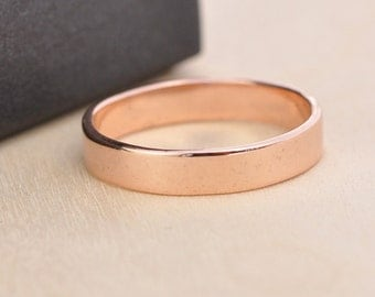 Rose Gold Wedding Band, 14K Solid Gold 4mm Width Ring, Handmade by Sea Babe Jewelry