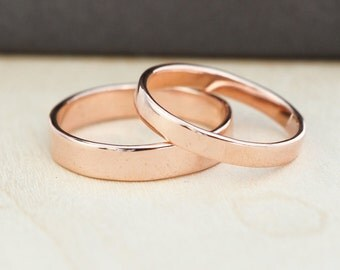 Rose Gold Wedding Band Set, Gold Wedding Rings, 3mm and 4mm, Custom, Sea Babe Jewelry