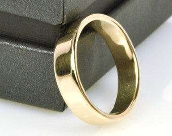 Mens Yellow Gold Wedding Band, 14K Gold 5mm Wide Ring Handmade Single Band Simple Sea Babe Jewelry