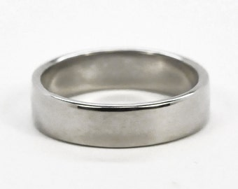 Mens 14K White Gold Hand Forged Wedding Ring or Band, 5mm, Sea Babe Jewelry
