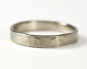 14K Palladium White Gold Wedding Ring, 3mm Hammered Matte Eco Friendly Ring size 3-6 this listing, any size available, Sea Babe Jewelry