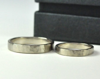 14K Palladium White Gold Perfect Wedding Ring Set, 3mm and 4mm, Eco Friendly Wedding, Hammered/Matte, Recycled Gold, Sea Babe Jewelry