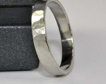 White Gold Ring, Hammered Matte 14k Palladium White Gold 4mm band, Mens Wedding Ring Sea Babe Jewelry