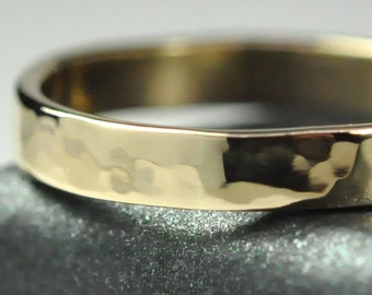 14K Yellow Gold Hand Forged Medium Ring, Hammered Texture 3mm Band, Sea Babe Jewelry