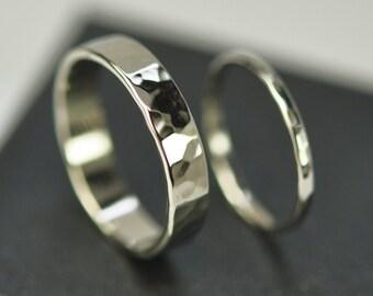 White Wedding Set, 14K Palladium White Gold Hammered Bands, Custom Made to Order, Sea Babe Jewelry