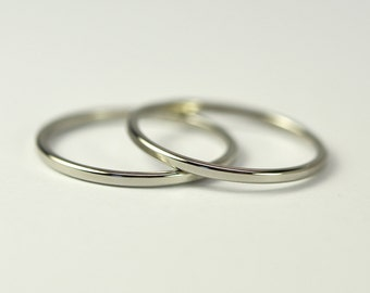 Skinny White Gold Stacking Rings, Engagement Ring Guards, 1mm Bands, 14K Palladium White Gold