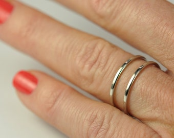 Skinny White Gold Stacking Rings, Engagement Ring Guards, 1mm Bands, 14K Palladium White Gold, sizes 3-6 this listing