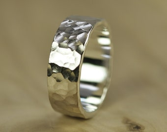 Men's Silver Wedding Band, Hammered Recycled Silver, Chunky Wide Ring, Pure Silver, 8mm, Sea Babe Jewelry