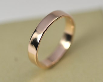 wedding ring rose gold 14k smooth texture polished 4mm wide simple