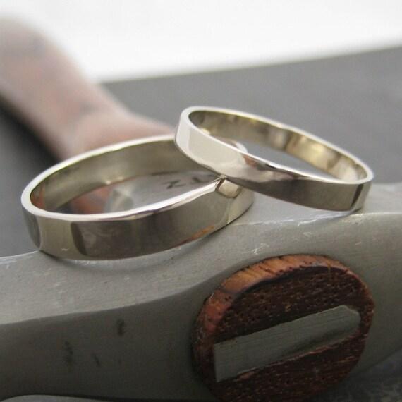 The Perfect Rings, 14k Palladium White Gold Wedding Ring Set