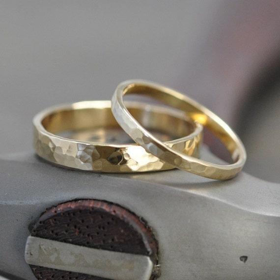 Wedding Ring Set, 18K Yellow Gold, Wedding Band Set, 2mm and 4mm ...