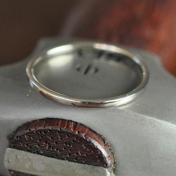 14k palladium white gold wedding ring 1mm band smooth