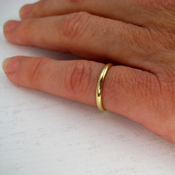 18K Yellow Gold Classic Style Ring, 2mm Half Round Dome Band or Wedding Ring, Sea Babe Jewelry