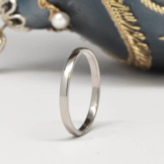14K Palladium White Gold Wedding Band, 2mm, Sea Babe Jewelry