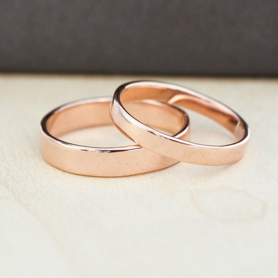 14K Rose Gold Wedding Band Set, Gold Wedding Rings, 3mm and 4mm, Custom, Sea Babe Jewelry