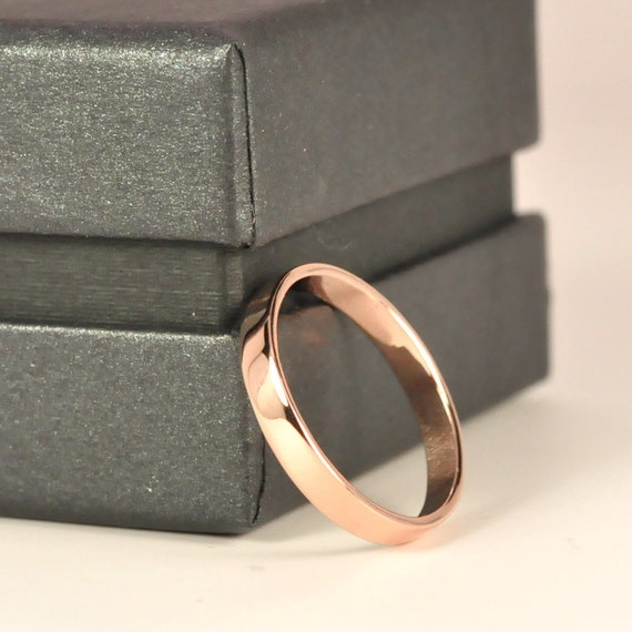 18K Rose Gold Wedding Band, 3mm Smooth Polished finish, Sea Babe Jewelry