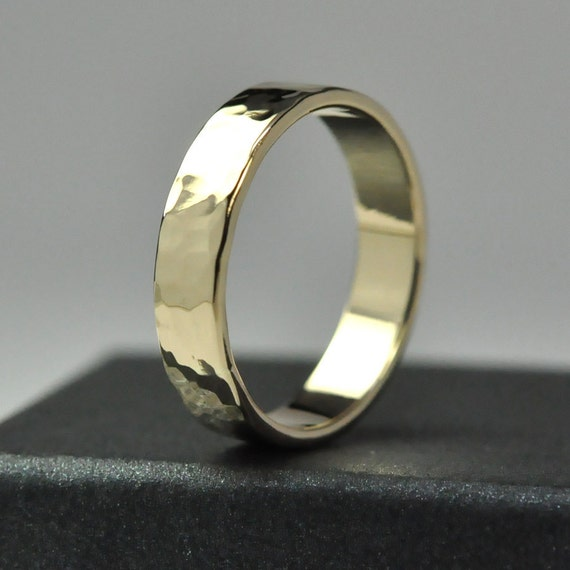 Mens 14K Yellow Gold  Wedding Band, 5mm Hammered Gold Ring, Polished Finish, Sea Babe Jewelry