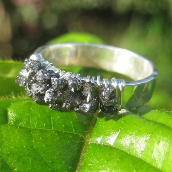 Black Rough Diamond and Fine Silver Ring
