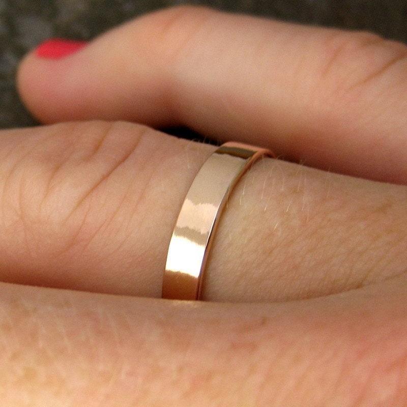 Medium Width Wedding Band 14K Rose Gold 3mm Band