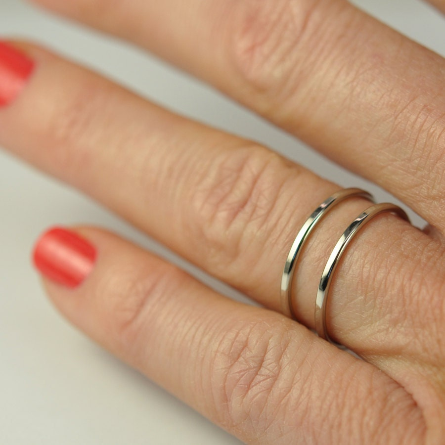 Skinny White Gold Stacking Rings Engagement Ring Guards 1mm