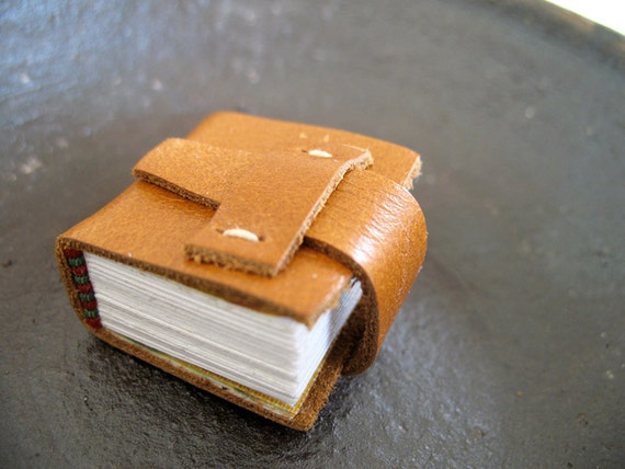 Miniature Leather Book -Brown