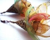 Fallen leaves - One Of A Kind Handmade Organza Statement Earrings