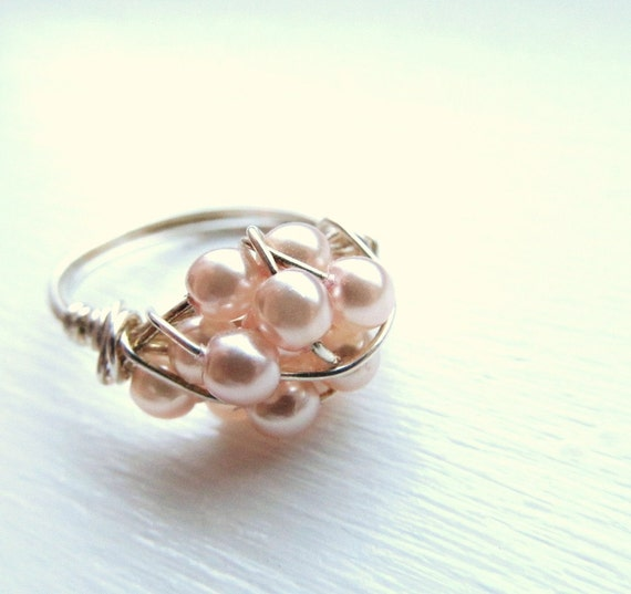Soft pink Swarovski pearl wire wrapped ring