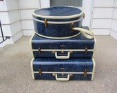 RESERVED for Terri Sortino Cronican 1950s Samsonite Luggage Set of 3 cases navy blue marbled with keys