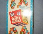 Vintage 18 Hi-Lo American Safety Wooden Blocks with Original Box