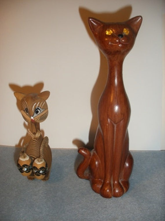 Pair of Vintage Wooden Cat Figurines