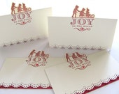 Holiday cards, joy to the world, set of 4