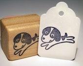 Hand Carved Stamp, Running Puppy