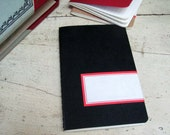 Altered small Moleskine notebook/plain pages/Black- red label/ledger page number