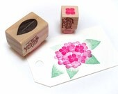 Hand Carved Rubber Stamp, Hydrangea set of 2