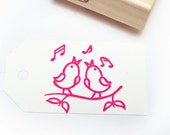 Singing Bird Hand Carved Rubber Stamp