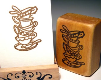 Stacked Tea Cups, Hand Carved Stamp
