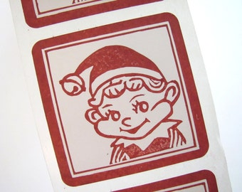 Red Label Elf Sticker, Set of 12