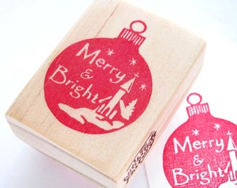 Hand Carved Rubber Stamp, Vintage inspired Christmas Ornament  - Merry and Bright