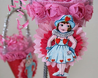 Vintage Style Valentine Ornament Decoration with Vintage Die Cut/Crepe Paper Flower - Girl