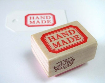 Hand Carved Rubber Stamp, Handmade Label