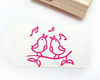 Singing Birds Hand Carved Rubber Stamp