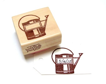 Water Can Hand Carved Rubber Stamp
