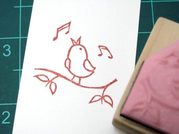 Bird Hand Carved Stamp, Singing Bird