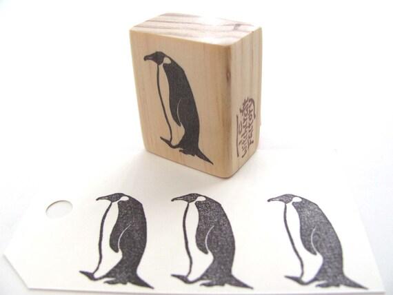 Walking Penguin, Hand Carved Stamp