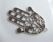 1pc Matte Silver plated Hand of Hamza pendant-80x55mm (412-020SP)