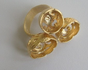 1 pc Matte Gold Plated Authentic Ring base with three different holes-18x14x10 (007-010GP)
