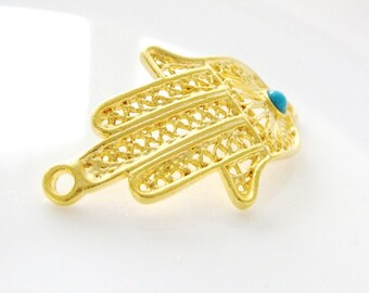 1pc- Matte Gold plated Hand of HAmza with blue jade connector-36x21mm (008-011GP)