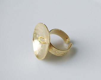 1pc- Matte Gold Plated Big Pad with 1 loop Brass  Ring BAse-25x18mm (018-016GP)