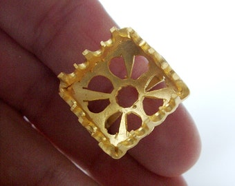 1pc- Matte Gold Plated Authentic Square Beadable  Ring -18x20mm (018-017GP)